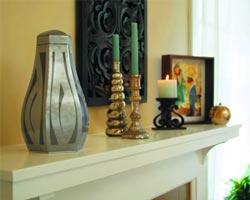 urn on shelf